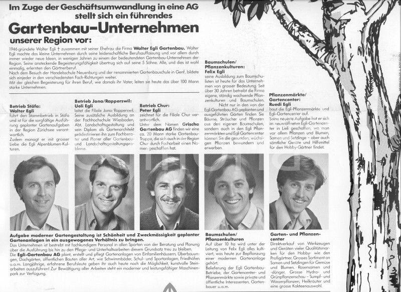 1982: Ein Zeitungsartikel über das Gartenbauunternehmen Walter Egli Gartenbau